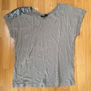 Forever 21 Ripped Sequin Tshirt